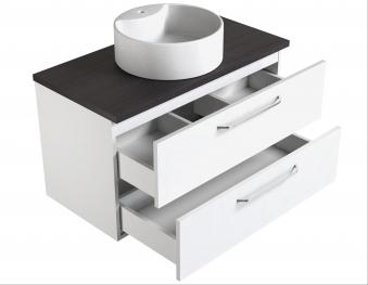 Bad Waschtischunterschrank mit Waschtischplatte und rundem Aufsatzbecken Luna 90 Weiß glänzend/Eiche bardolino Bild 3