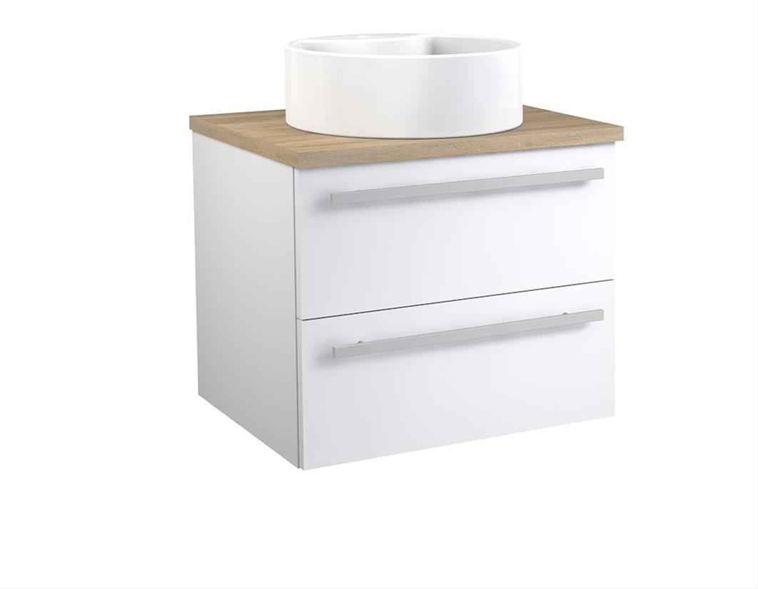 Bad Waschtischunterschrank mit Waschtischplatte und rundem Aufsatzbecken Serena 60 Weiß glänzend/Eiche bardolino Bild 1