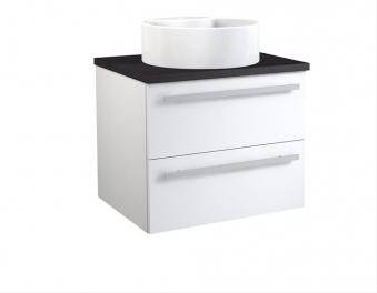 Bad Waschtischunterschrank mit Waschtischplatte und rundem Aufsatzbecken Serena 60 Weiß glänzend/Eiche schwarz Bild 1