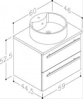 Bad Waschtischunterschrank mit Waschtischplatte und rundem Aufsatzbecken Serena 60 Weiß glänzend/Eiche schwarz Bild 2