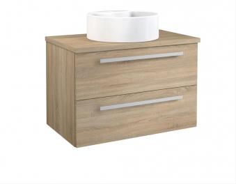 Bad Waschtischunterschrank mit Waschtischplatte und rundem Aufsatzbecken Serena 75 Eiche bardolino Bild 1
