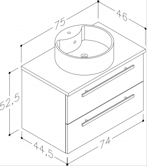 Bad Waschtischunterschrank mit Waschtischplatte und rundem Aufsatzbecken Serena 75 Eiche bardolino Bild 2
