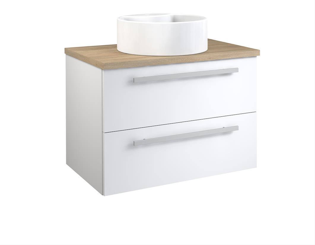 Bad Waschtischunterschrank mit Waschtischplatte und rundem Aufsatzbecken Serena 75 Weiß glänzend/Eiche bardolino Bild 1