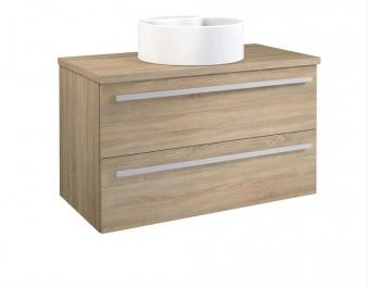 Bad Waschtischunterschrank mit Waschtischplatte und rundem Aufsatzbecken Serena 90 Eiche bardolino Bild 1