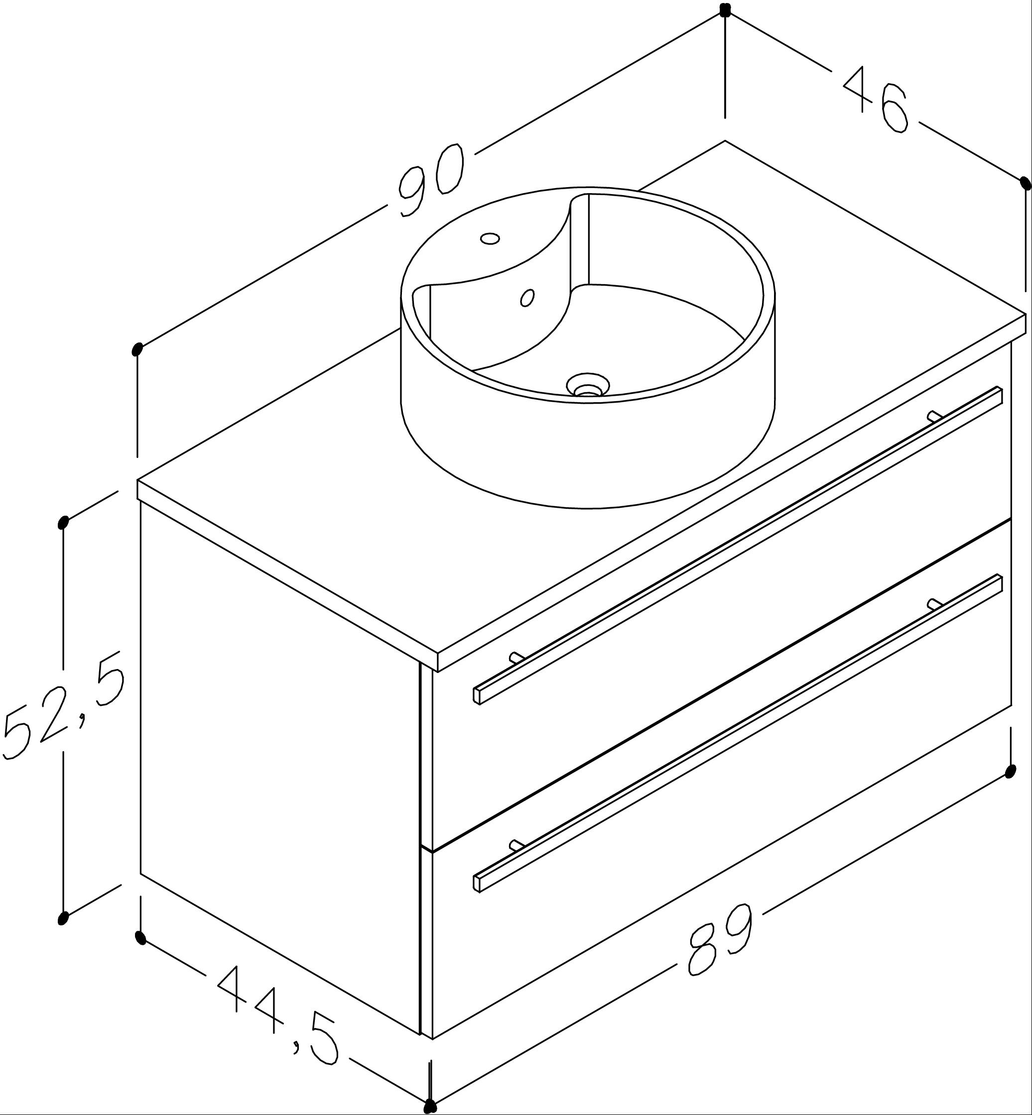 Bad Waschtischunterschrank mit Waschtischplatte und rundem Aufsatzbecken Serena 90 Weiß glänzend/Eiche bardolino Bild 2