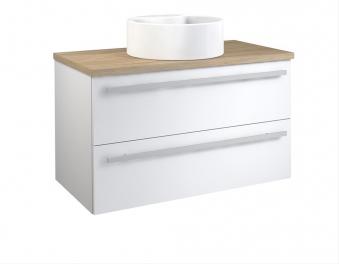 Bad Waschtischunterschrank mit Waschtischplatte und rundem Aufsatzbecken Serena 90 Weiß glänzend/Eiche bardolino Bild 1