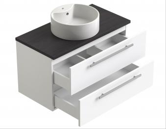 Bad Waschtischunterschrank mit Waschtischplatte und rundem Aufsatzbecken Serena 90 Weiß glänzend/Eiche bardolino Bild 3