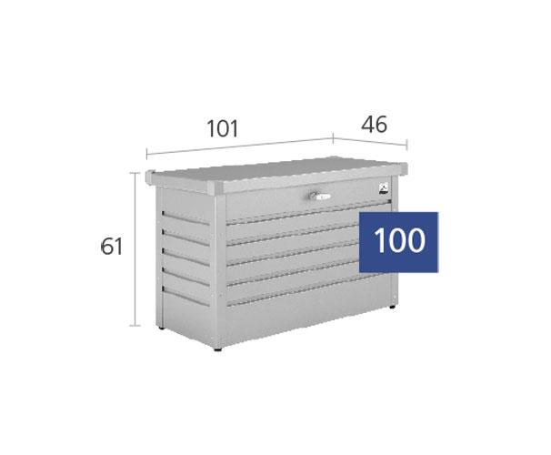 Paket-Box / Gartenbox Biohort 100 silber-metallic 101x46x61cm Bild 2