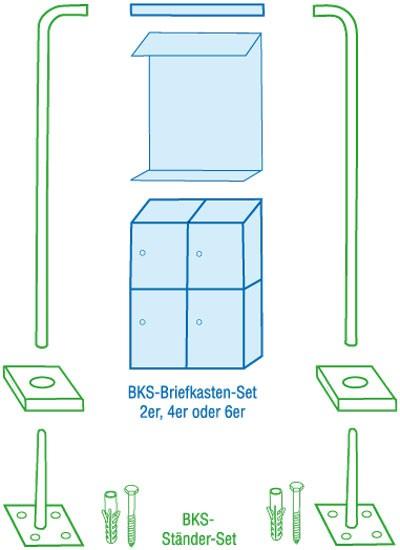 Rottner Ständerset für Briefkastenanlage / Briefkastensystem Edelstahl Bild 1