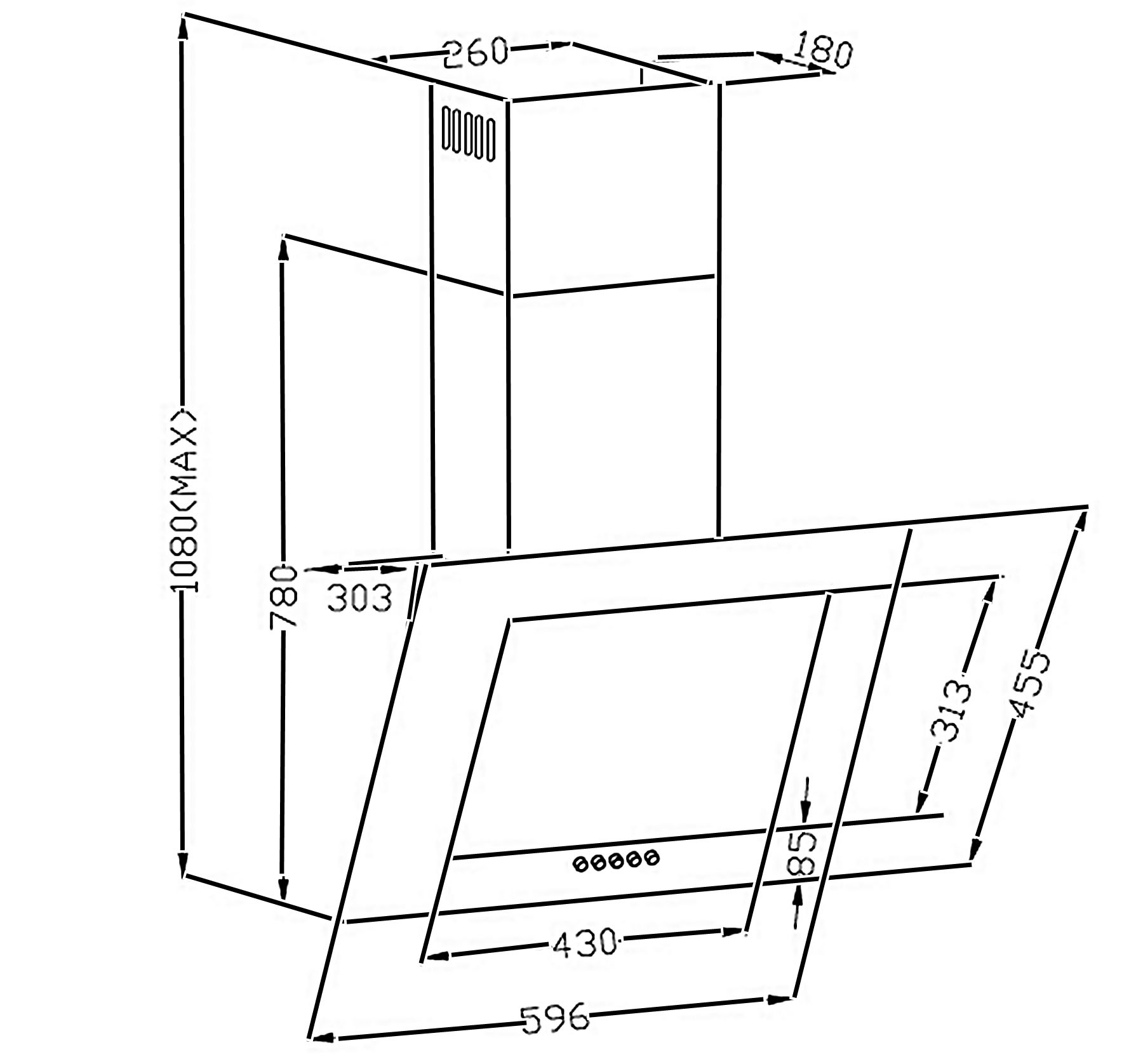 Dunstabzugshaube / Schräghaube Respekta CH 2060 SB 60cm Glas schwarz Bild 2