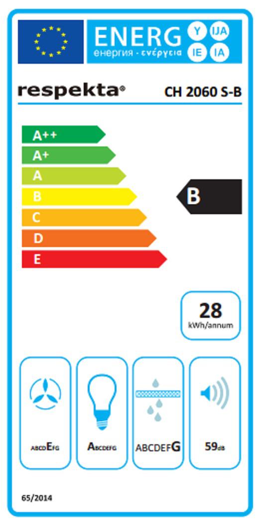 Dunstabzugshaube / Schräghaube Respekta CH 2060 SB 60cm Glas schwarz Bild 4