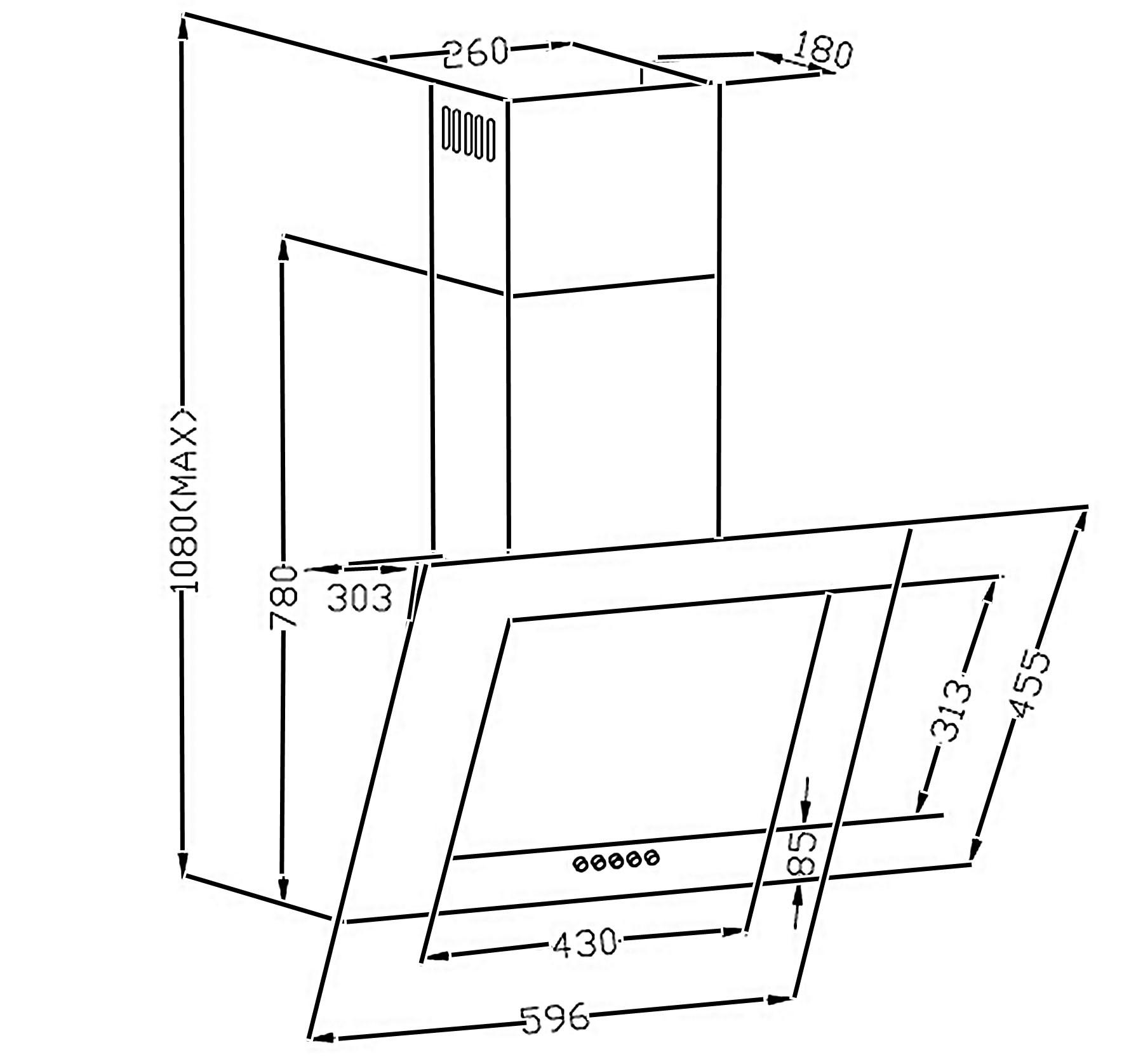 Dunstabzugshaube / Schräghaube Respekta CH 2060 SB 60cm Glas weiß Bild 2