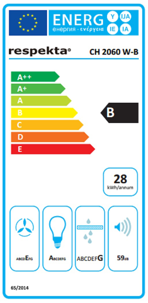 Dunstabzugshaube / Schräghaube Respekta CH 2060 SB 60cm Glas weiß Bild 4