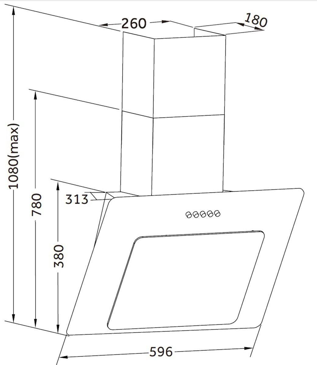 Dunstabzugshaube / Schräghaube Respekta CH 21060 WA 60x30cm weiß Bild 2