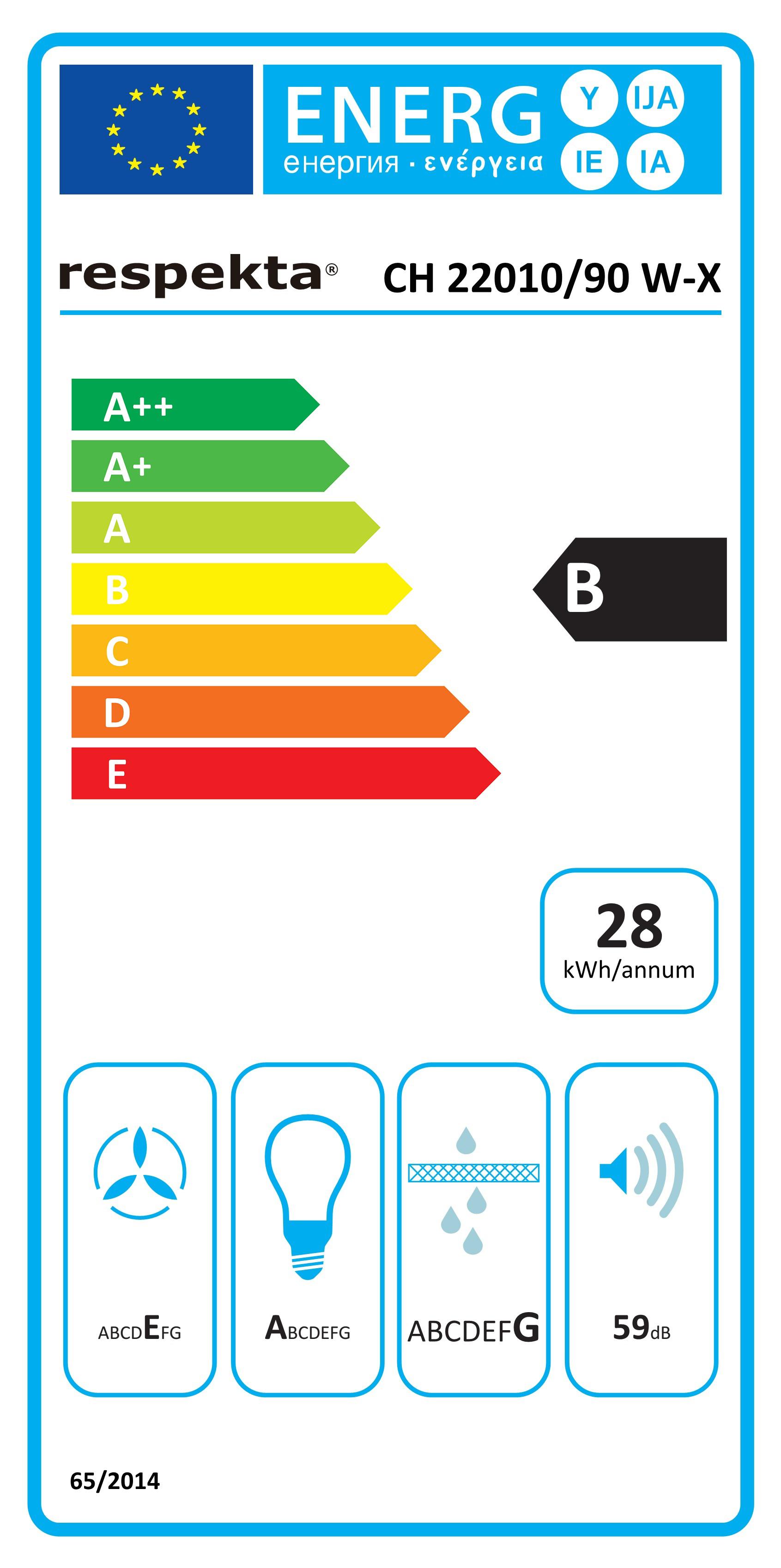 Dunstabzugshaube / Schräghaube Respekta CH 22010-90 WX 90cm weiß Bild 3
