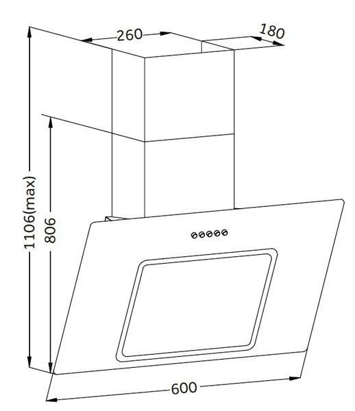 Dunstabzugshaube / Schräghaube Respekta CH 22010 WX 60cm weiß Bild 3