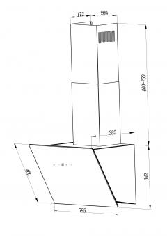 Dunstabzugshaube / Schräghaube Respekta CH 24060 SA 60cm schwarz Bild 3