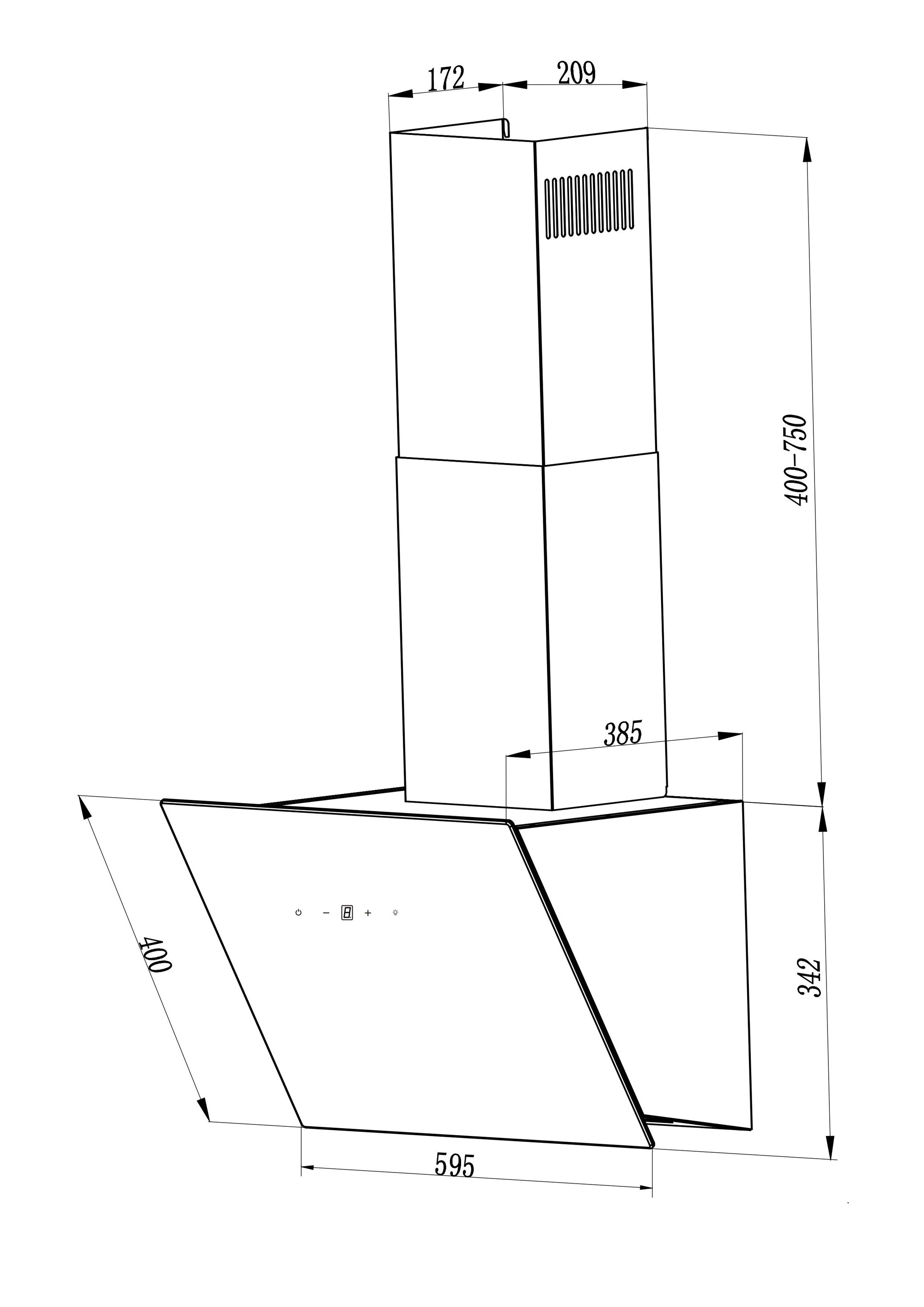 Dunstabzugshaube / Schräghaube Respekta CH 24060 WA 60cm weiß Bild 3