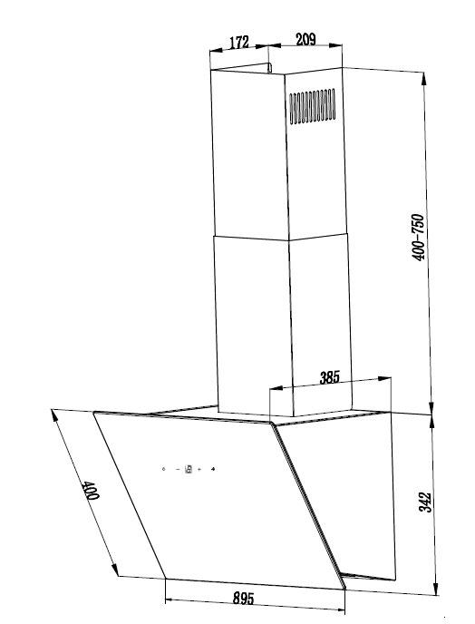 Dunstabzugshaube / Schräghaube Respekta CH 24090 WA 90cm weiß Bild 3