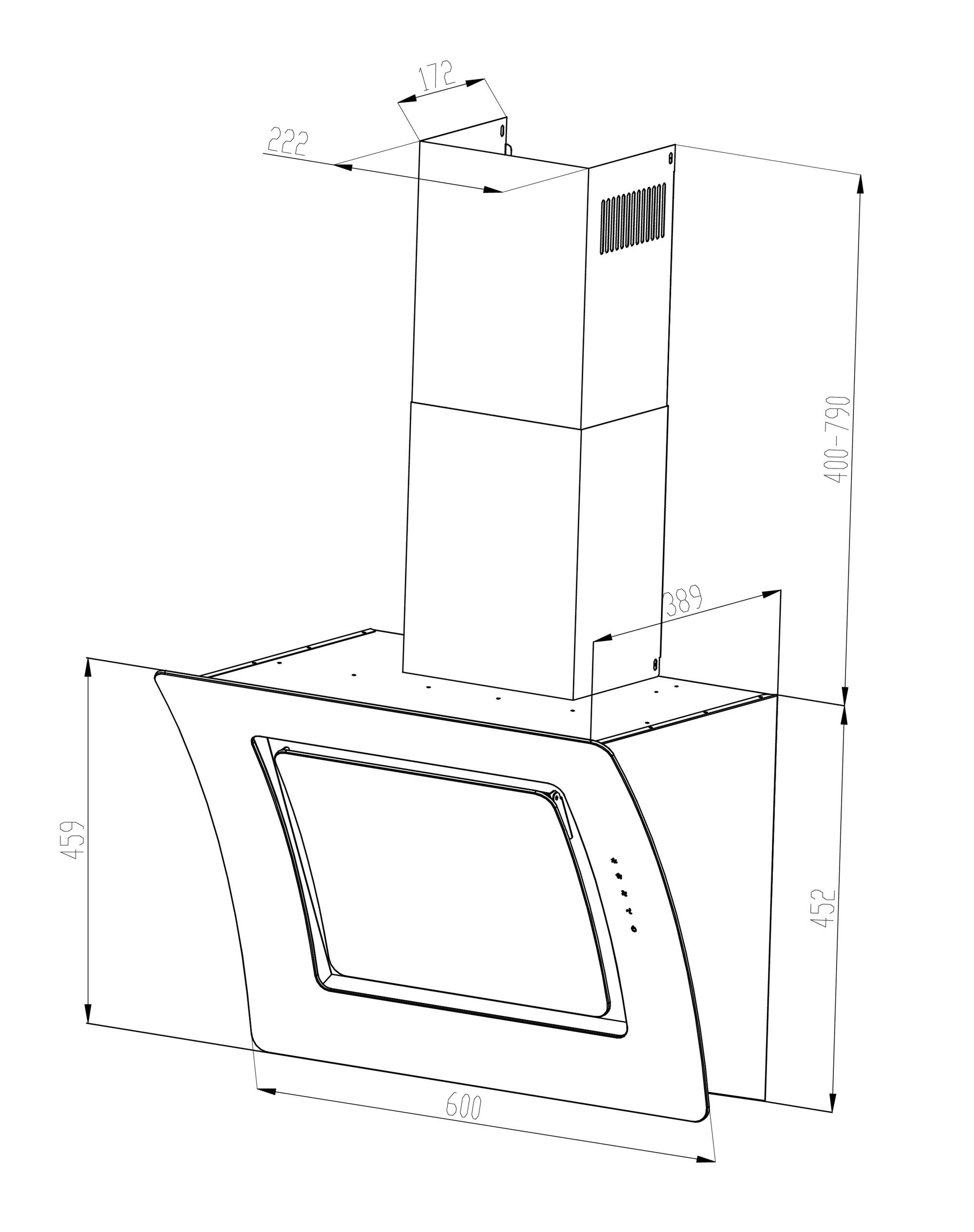 Dunstabzugshaube / Schräghaube Respekta CH 55060 SA 60cm weiß Bild 2