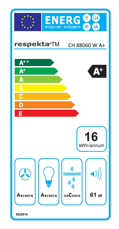 Dunstabzugshaube / Schräghaube Respekta CH 88060 WA+ 60cm weiß Bild 3