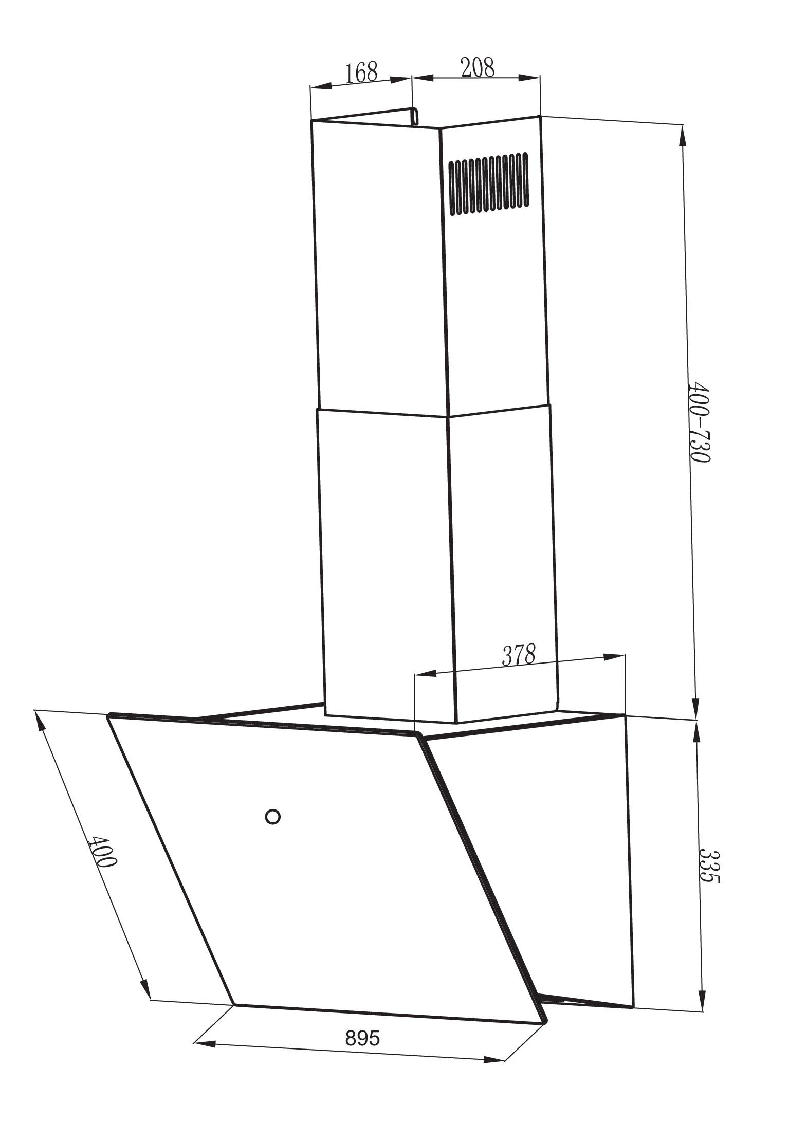 Dunstabzugshaube / Schräghaube Respekta CH 88090 SA+ 90cm schwarz Bild 3