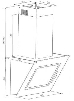Dunstabzugshaube / Schräghaube Respekta CH 99040-60 W 60x42cm weiß Bild 2