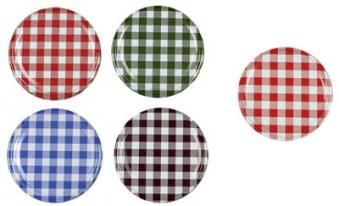 Twist-Off-Deckel / Schraubglas Deckel 82 mm rot / weiß / kariert