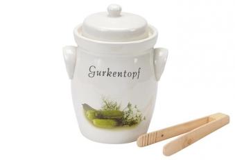 Gurkentopf Steingut 5 Liter Bild 1