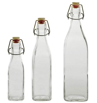 Glasflasche / Bügelverschlußflasche Swing 0,5 L eckig Bild 1