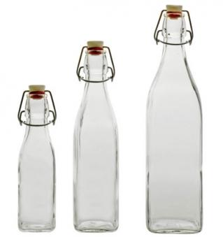 Glasflasche / Bügelverschlußflasche Swing 1 L eckig Bild 1