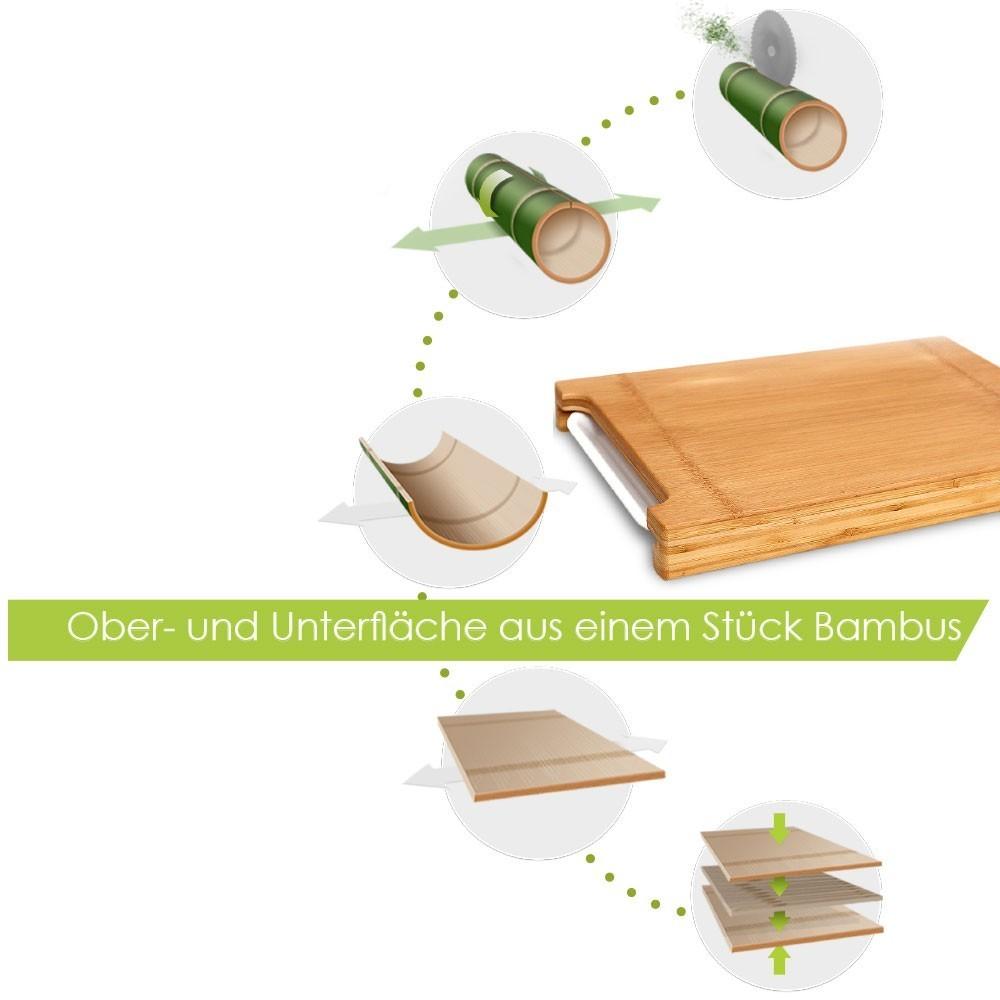 Habau Schneidebrett Bambus mit Auffangschale 45x32cm Bild 6