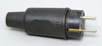 Kopp Schutzkontakt - Vollgummistecker mit Knickschutztülle schwarz Bild 1