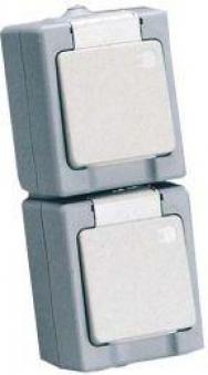 Schutzkontakt-Steckdose 2-fach, senkrecht AP/FRgrau/weiss Bild 1