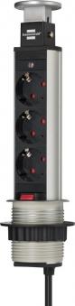Brennenstuhl Tower-Power Tisch Steckdosenleiste 3-fach versenkbar Bild 1
