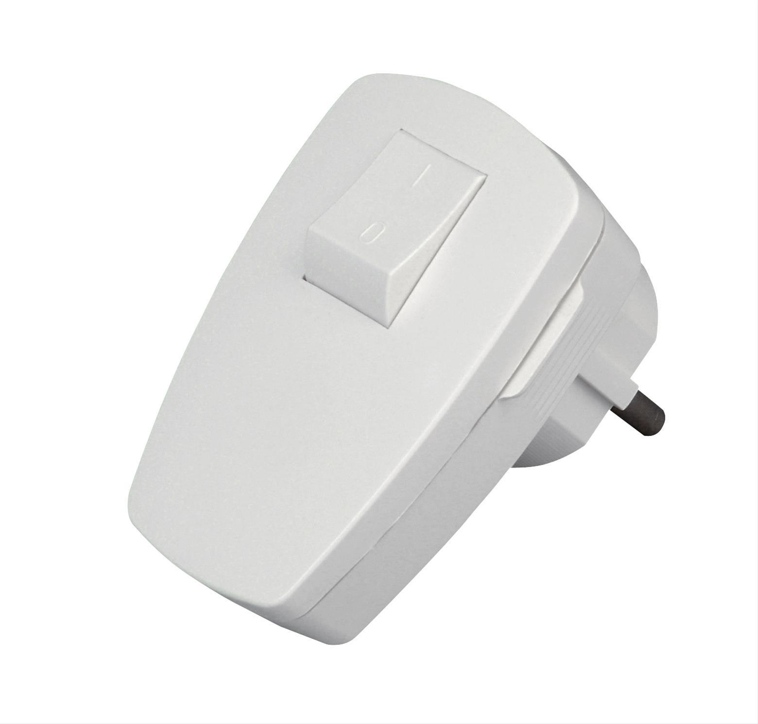 Kopp Kunststoff - Schutzkontakt - Stecker mit Wippenschalter arktis - weiss Bild 1