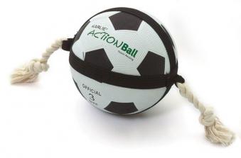 Hundespielzeug Actionball Karlie Fussball groß 19cm schwarz weiß Bild 1