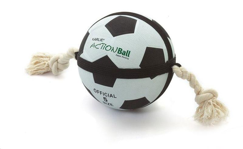 Hundespielzeug Actionball Karlie Fussball groß 22cm schwarz weiß Bild 1
