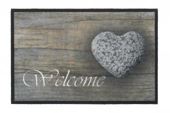 Hamat Schmutzfangmatte Mondial 45x75cm Dekor 004 Welcome Stone Heart Bild 1