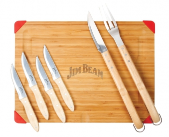 Jim Beam Schneidebrett Set inklusive Grillbesteck und Steakmesser Bild 1