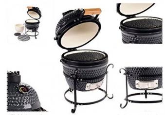 Kamado Action 13-Zoll schwarz Keramikgrill - Set Bild 2