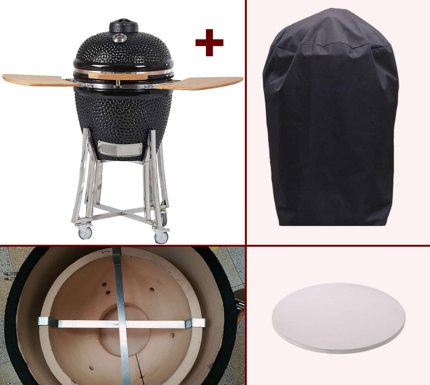"Kamado-Kitchen Keramikgrill de Luxe 18,8"" Ø48cm schwarz Set Bild 1"