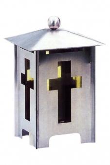 Grableuchte / Grablaterne Benjamin Edelstahl Echtglaseinsatz H 22cm Bild 1