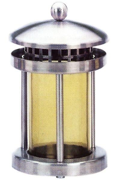 Grableuchte / Grablaterne Edelstahl Echtglaseinsatz Höhe 21cm Bild 1