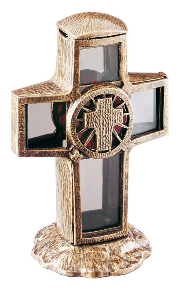 Grablaterne / Grableuchte Grablampe Kreuz 34 cm Bild 1