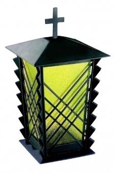 Grablaterne / Grablampe Matthäus Stahl 21 cm Echtglaseinsatz Bild 1