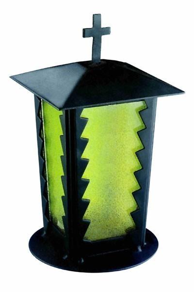 Grablaterne / Grablampe Stahl 24 cm Echtglaseinsatz Bild 1