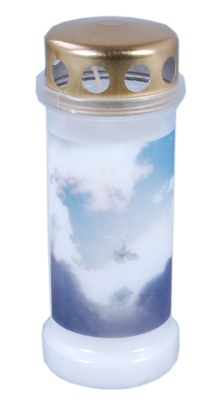 Bolsius Grabkerze / Dauerbrenner Nr. 6 mit Deckel Motiv Himmel weiß Bild 1