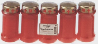 Bolsius Grablicht / Dauerbrenner Nr. 3 rot mit Deckel 5 Stück Bild 1