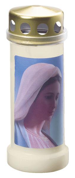 Bolsius Grablicht / Dauerbrenner Nr. 6 weiß mit Deckel Motiv Maria Bild 1